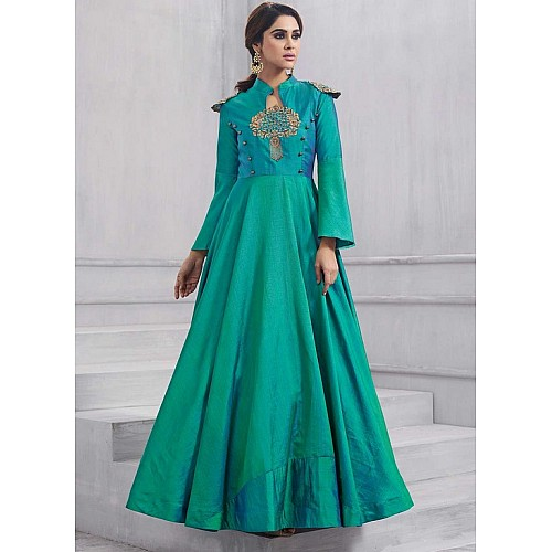 Designer embroidered rama green partywear gown