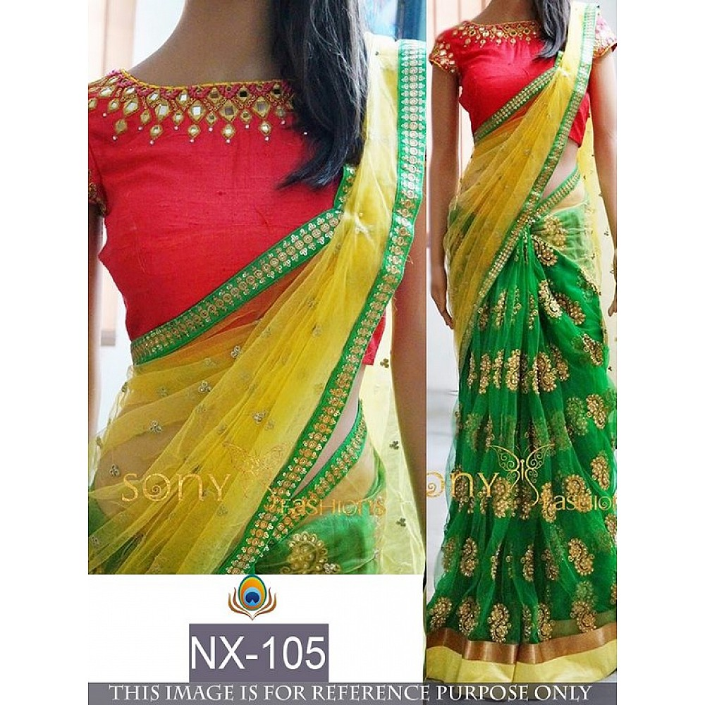 Designer green and yellow embroidered saree