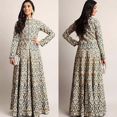 designer grey heavy embroidered ceremonial Gown