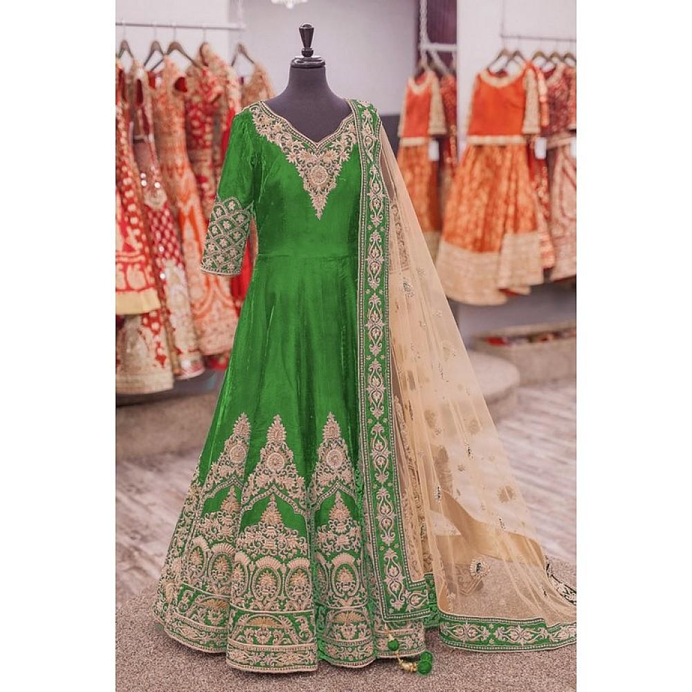 Designer heavy embroidered  green wedding suit