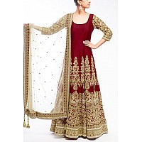 Designer heavy embroidered maroon anarkali suit for wedding