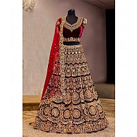 Designer heavy embroidered red bridal lehenga