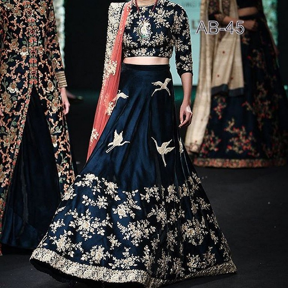 Designer  heavy embroidered wedding lehenga