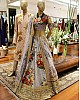 Designer heavy flowerprint bridal grey wedding lehenga