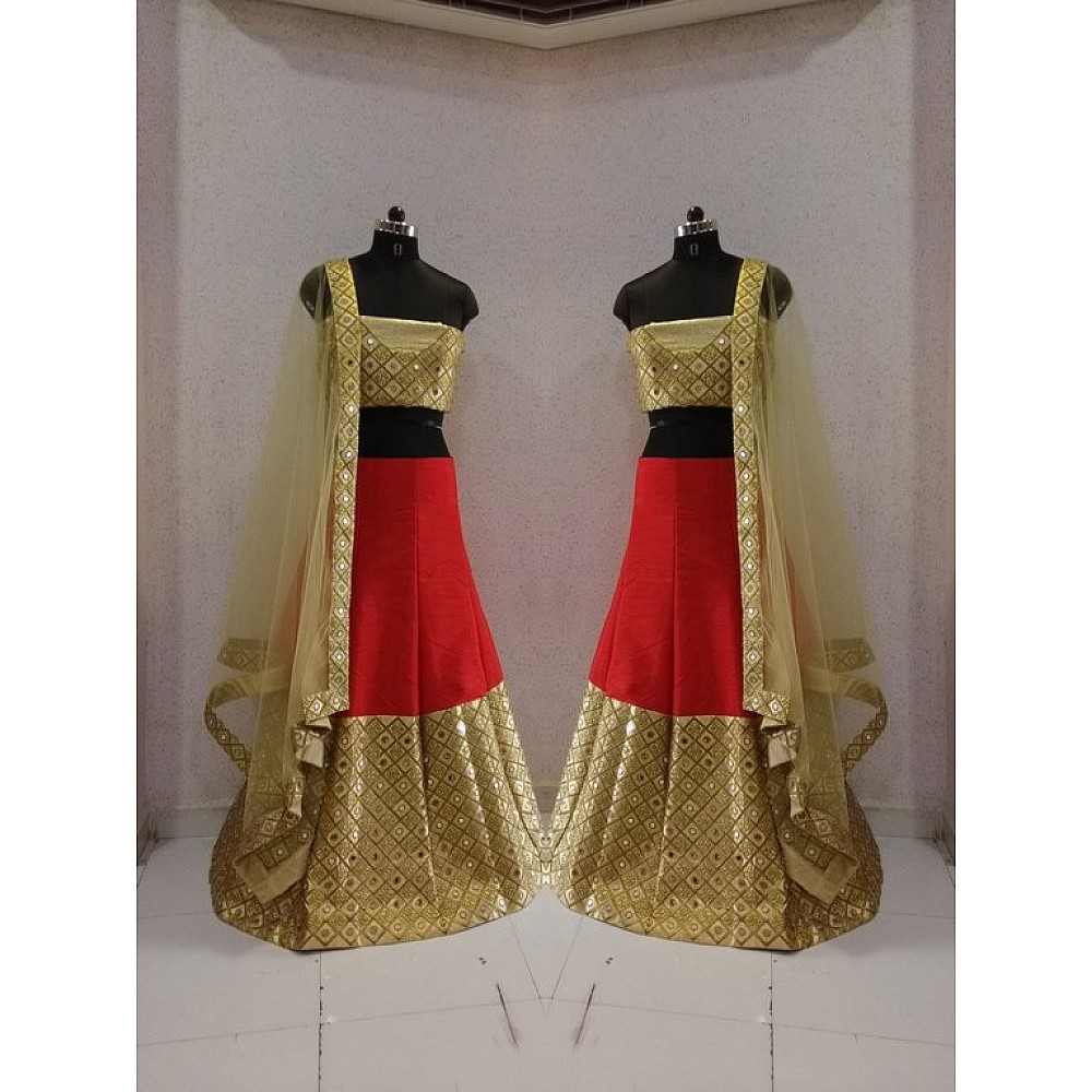 Designer heavy red and brown embroidered wedding lehenga