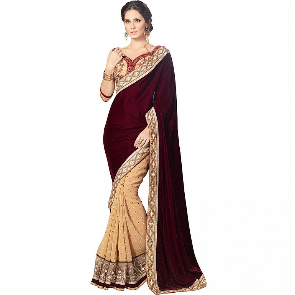 Designer maroon embroidered  wedding saree