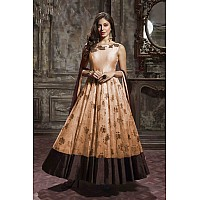 Designer printed peach thai silk and faux georgette wedding gown