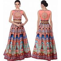 Designer printed silk printed lehenga