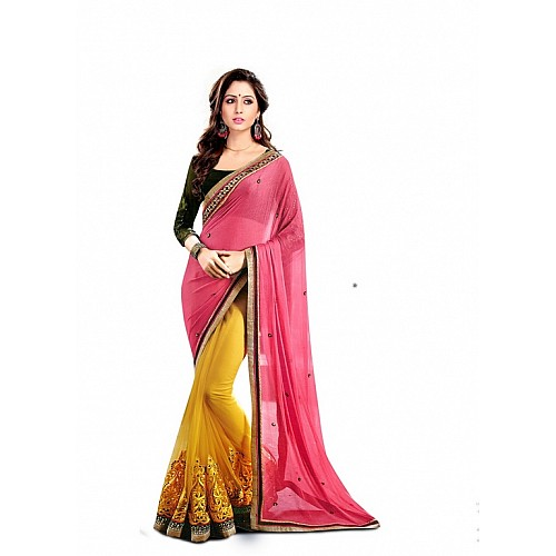 Designer stylist yellow and pink embroidered wedding saree