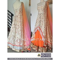 Designer white and orange anarkali suit