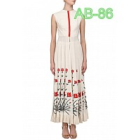 designer white printed stylist long Kurti