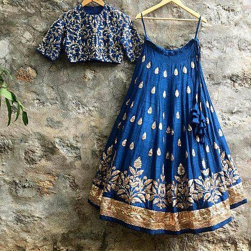 Fabulous blue embroidered Wedding lehenga