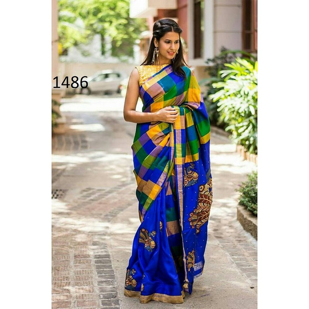 Fabulous Blue Printed Wedding Saree