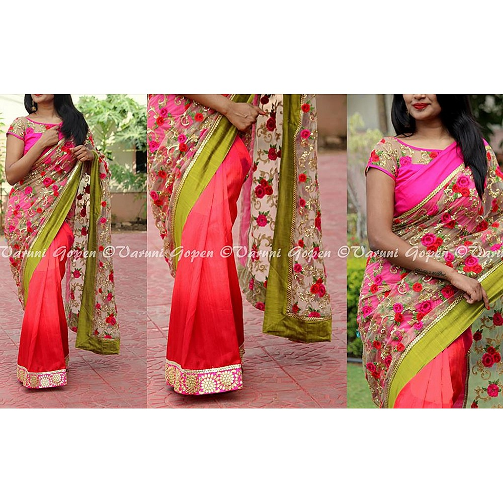 Fabulous flower embroidered wedding saree
