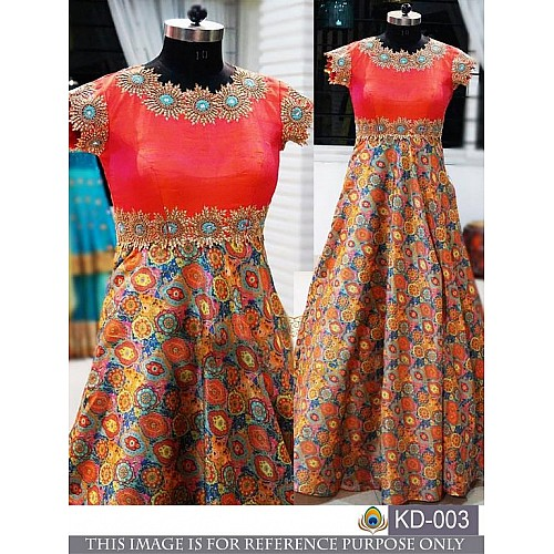 Fabulous multicolor printed ceremonial gown