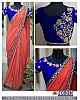 fabulous orange saree with fancy embroidered blouse
