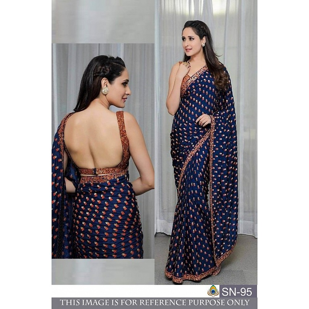 Gorgeous blue embroidered partywear saree
