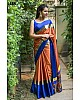 Gorgeous Orange Printed Party wear Saree