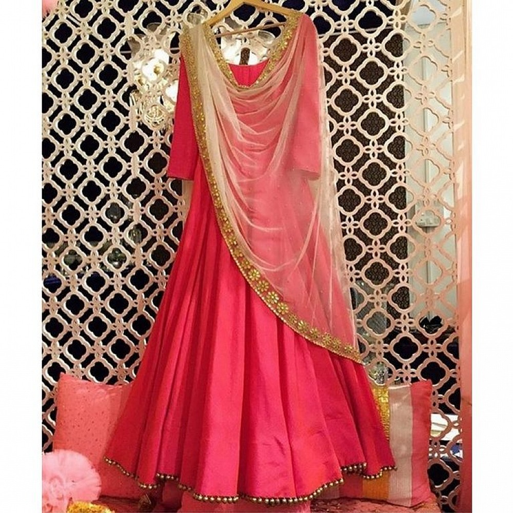 Gorgeous pink anarkali suit