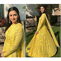 Gorgeous yellow mono net heavy embroidered ceremonial anarkali suit