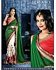 Green and white embroidered wedding saree