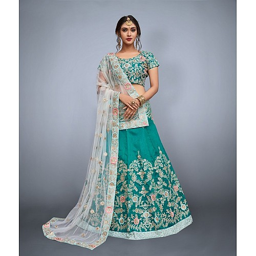 Green art silk embroidered ceremonial lehenga