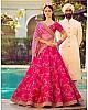 Heavy embroidered pink phantom silk bridal wedding lehenga