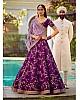 Heavy embroidered violet phantom silk bridal wedding lehenga