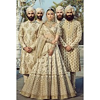 Heavy embroidered white bridal wedding lehenga