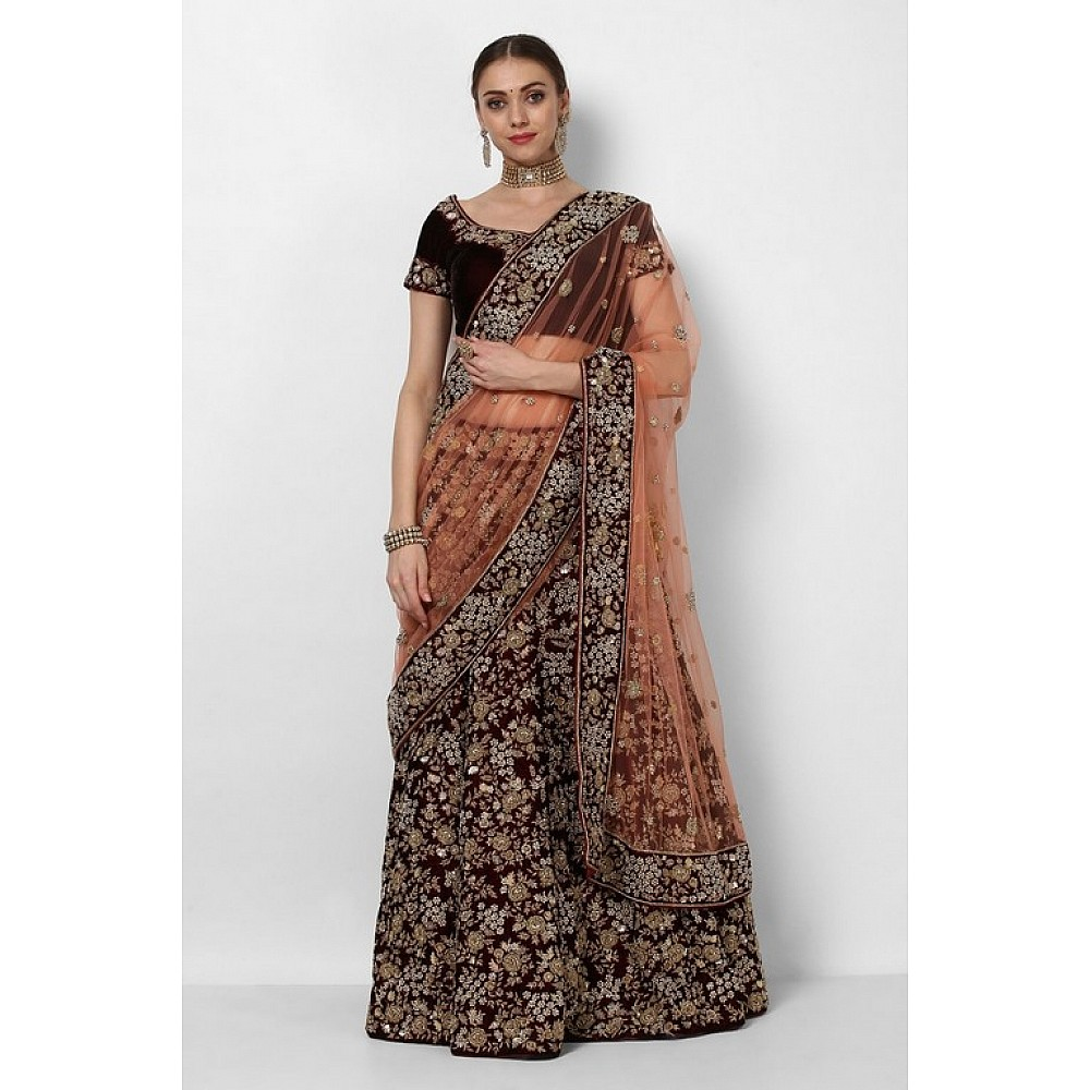 Heavy embroidered wine maroon bridal wedding lehenga