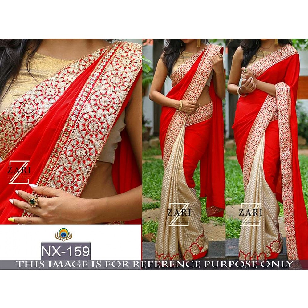 Mahaveer designer embroidered red wedding saree