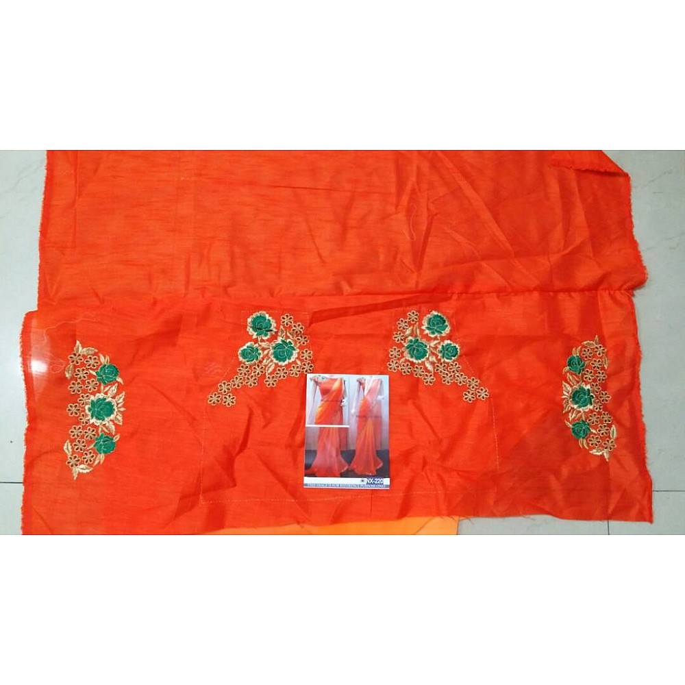 Mahaveer designer partywear orange saree