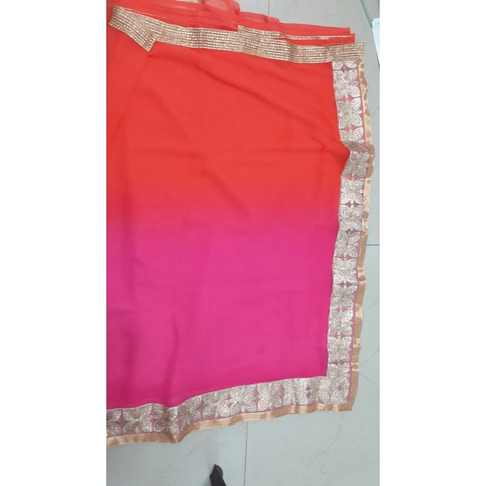mahaveer orange pink ceremonial embroidered saree