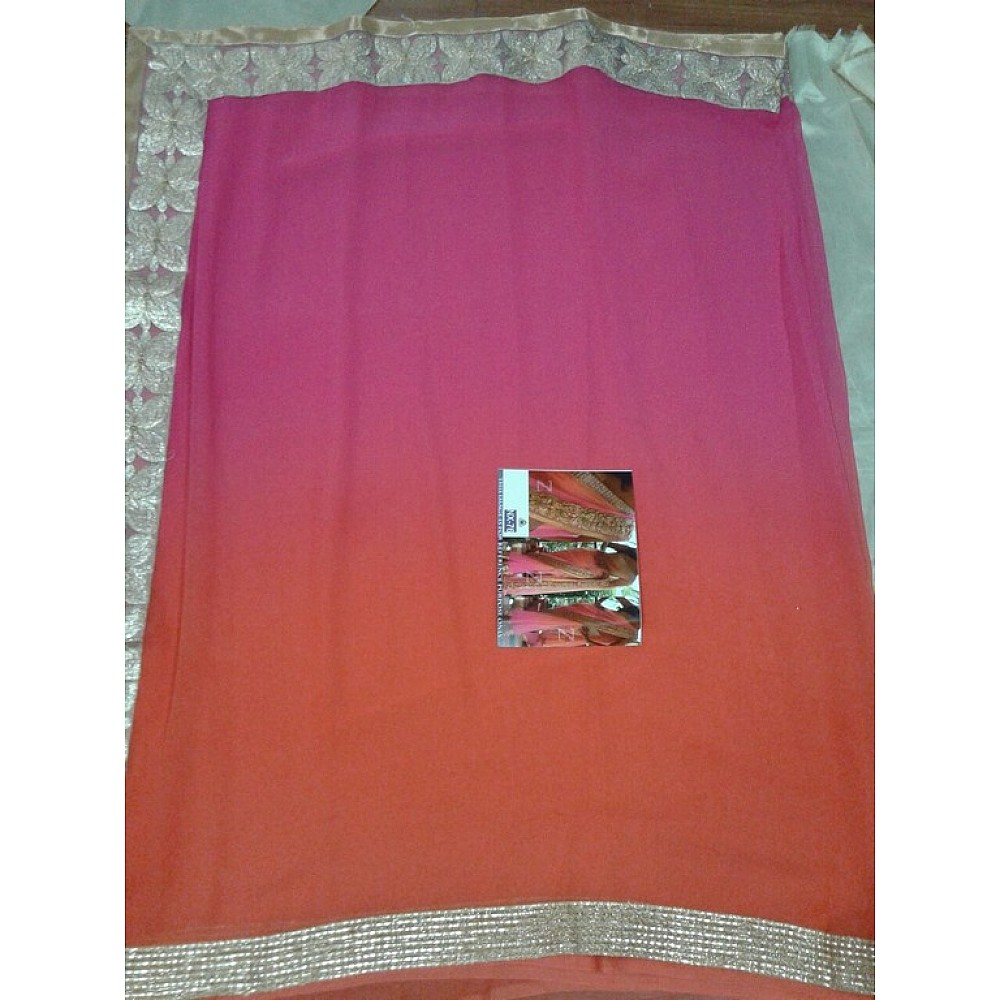 mahaveer orange pink ceremonial embroidered saree
