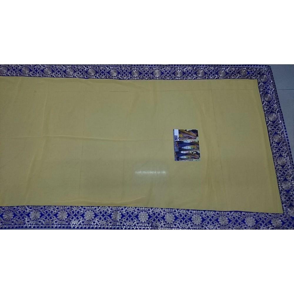 mahaveer yellow and blue half half embroidered saree