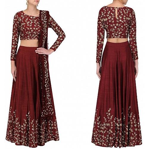 Maroon banglori silk heavy embroidered partywear lehenga