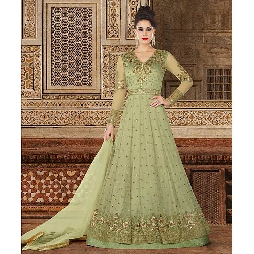 Mint Green Colored Santoon Thread & Jari Embroidery With Stone & Sequence Work Semi Stitched gown