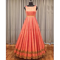 orange banglori silk long partywear gown