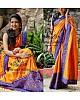 Orange paper silk embroidered festival wear saree