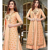 orange slub silk with khatli work designer salwar suit with shrug