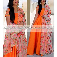 Orange tapeta silk beautiful anarkali suit with heavy dupatta