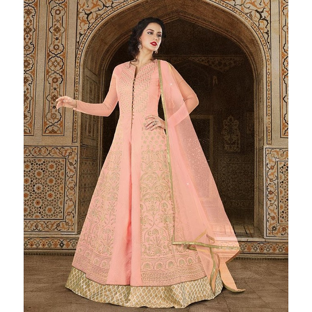 Pastel Pink Colored Jacquard Silk Jari Embroidery With Stone Work Semi Stitched gown