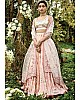 Peach malai satin heavy embroidered wedding lehenga