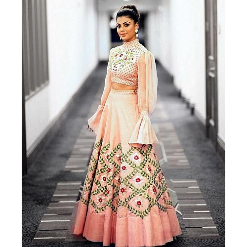 Peach tapeta silk embroidered ceremonial lehenga