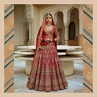 Pink floral embroidery on red base art silk bridal lehenga
