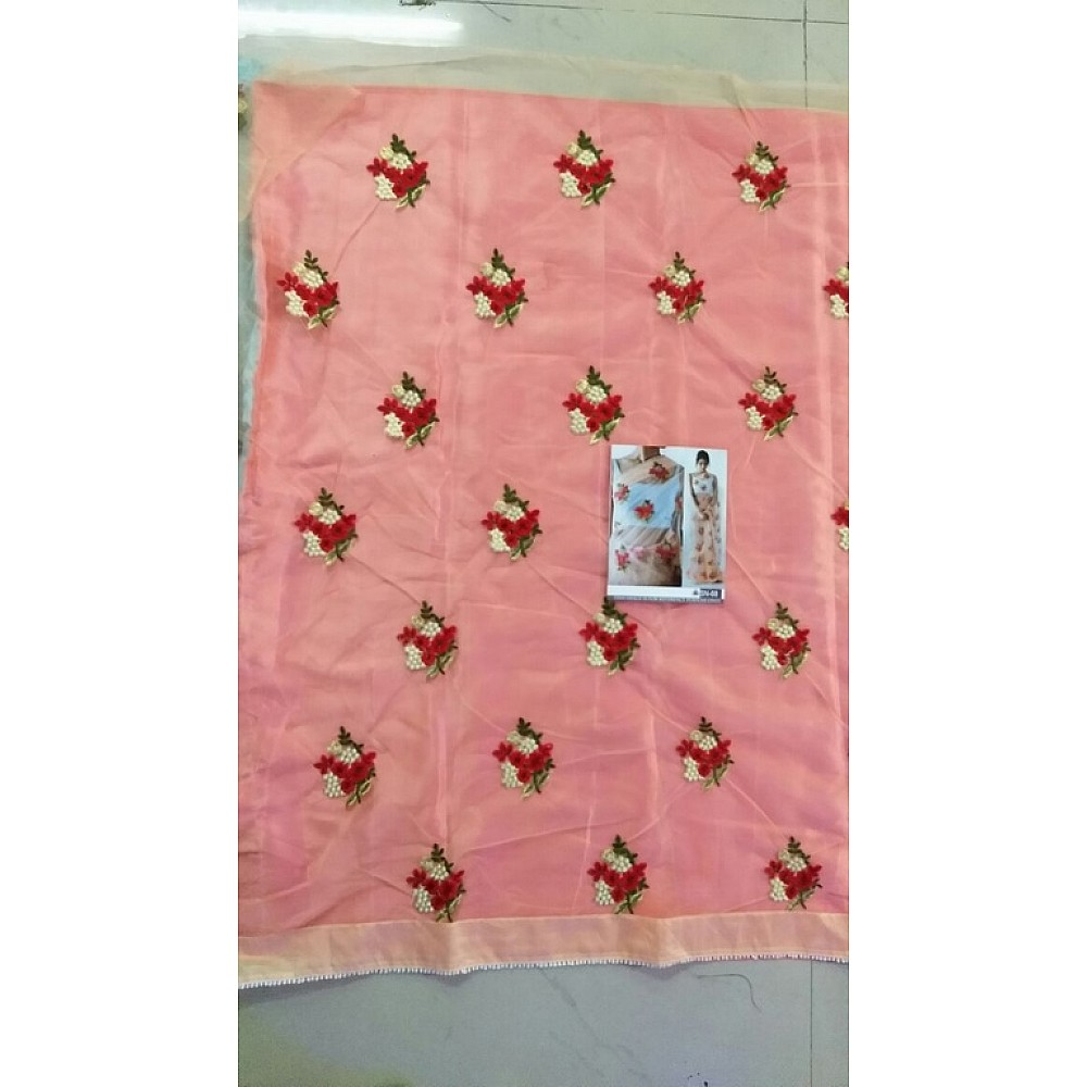 Preety look embroidered peach ceremonial saree