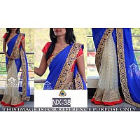 pretty look blue and cream half half saree