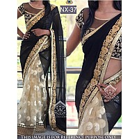pretty look stylist black and cream half half saree