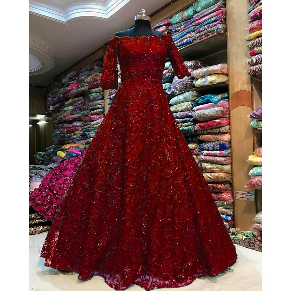 Heavy chain stitch embroidery work gown