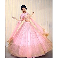 Baby pink mono net embroidered wedding lehenga choli